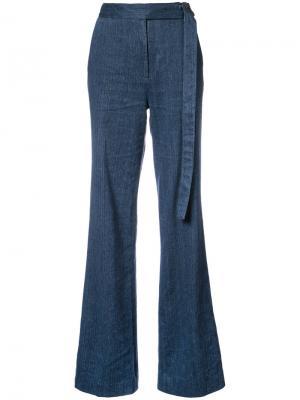 Широкие брюки с завышенной талией Natori. Цвет: синий