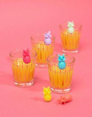Sunnylife Маркеры для бокалов в форме ананаса. Цвет: мульти