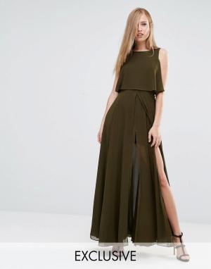 Fame and Partners Платье макси 2 в 1 с высоким разрезом. Цвет: зеленый