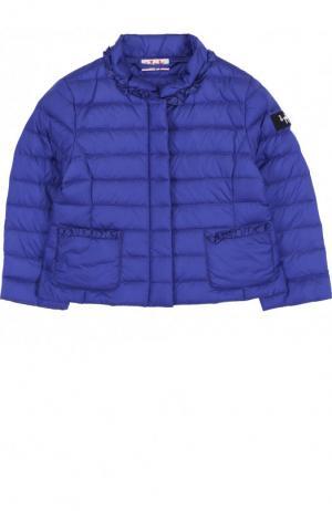 Пуховая куртка с воротником-стойкой Il Gufo. Цвет: синий