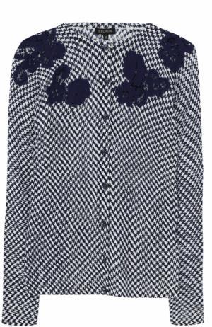 Кардиган с круглым вырезом и цветочной отделкой Escada. Цвет: темно-синий