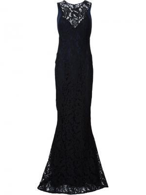 Вечернее платье с кружевной вставкой Galvan. Цвет: чёрный