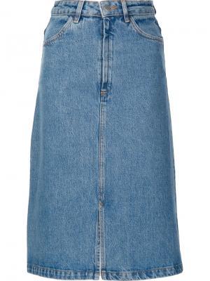 Джинсовая юбка А-образного силуэта Mih Jeans. Цвет: синий