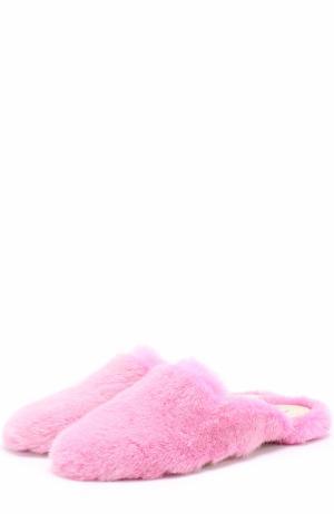 Сабо из меха норки Natasha Zinko. Цвет: розовый