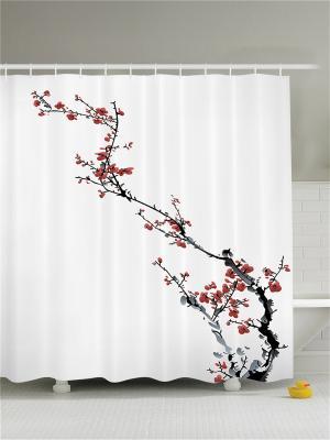Фотоштора для ванной Цветущая сакура, 180*200 см Magic Lady. Цвет: белый, бордовый, молочный, серый, черный