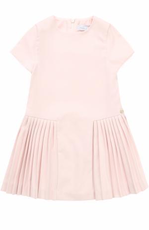 Трикотажное мини-платье с плиссированной юбкой Tartine Et Chocolat. Цвет: розовый