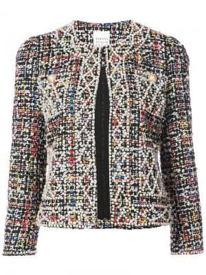 Tweed and faux pearl embellished jacket Edward Achour Paris. Цвет: чёрный