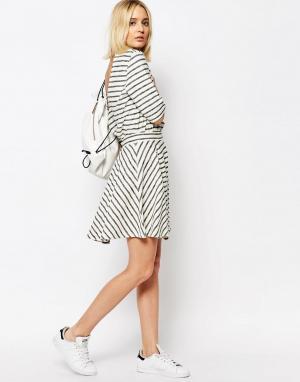 ADPT Комбинируемая короткая расклешенная юбка в полоску. Цвет: мульти