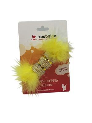 Игрушка для кошки Сизалевая когтеточка цилиндр с марабу 15см(с кош  мятой) Zoobaloo. Цвет: желтый
