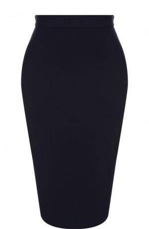 Однотонная юбка-карандаш St. John. Цвет: темно-синий