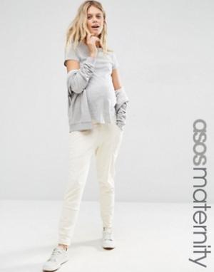 ASOS Maternity Спортивные домашние шаровары для беременных. Цвет: кремовый