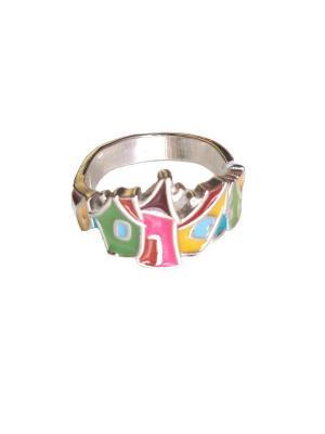 Кольцо Веселые домики KU&KU. Цвет: светло-зеленый,розовый,золотистый