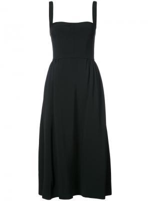 Приталенное струящееся платье Adam Lippes. Цвет: чёрный