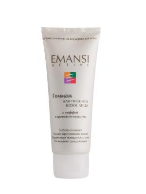 Emansi Гоммаж с люффой и крахмалом кукурузы для пилинга кожи лица, active, 75 мл. Цвет: белый