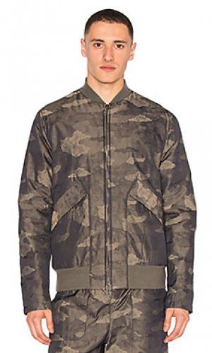Куртка-бомбер на молнии Helmut Lang. Цвет: оливковый