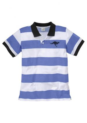 Футболка поло Kangaroos. Цвет: голубой/белый/темно-синий