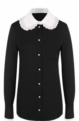 Шелковая блуза с контрастным воротником Altuzarra. Цвет: черный