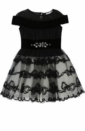 Мини-платье с многослойной юбкой и вышивкой кристаллами Monnalisa. Цвет: черный
