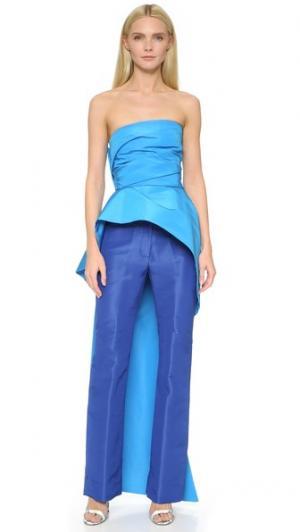 Драпированное бюстье без бретелек со шлейфом Monique Lhuillier. Цвет: голубой