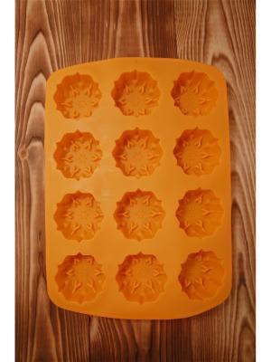 Форма силиконовая 12 ячеек, 33.5х24х3см, снежинки, 4 цвета, HS-097A Vetta. Цвет: желтый