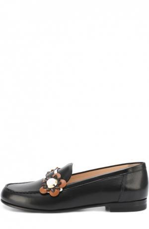 Кожаные лоферы с аппликациями Fendi. Цвет: черный