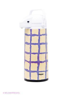 Термос Bekker. Цвет: бежевый, фиолетовый