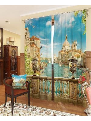 Комплект  фотоштор Утренняя Венеция ТОМДОМ. Цвет: синий, голубой, бежевый