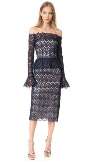Платье с баской Monique Lhuillier. Цвет: темно-синий