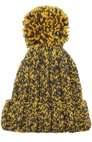 Вязаная шапка с помпоном 7II. Цвет: желтый