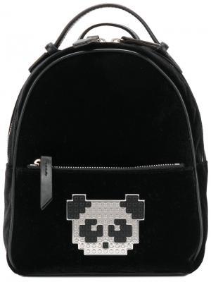 Рюкзак с нашивкой-пандой из пикселей Les Petits Joueurs. Цвет: чёрный