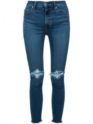 Облегающие укороченные джинсы Cult Nobody Denim. Цвет: синий