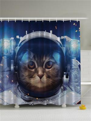 Фотоштора для ванной Кошка в открытом космосе, Земля, Луна и звёзды, 180*200 см Magic Lady. Цвет: синий, коричневый, голубой, бежевый, белый