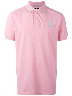 Рубашка-поло с вышитым логотипом Hackett. Цвет: розовый и фиолетовый