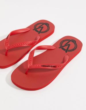 Versace Jeans Красные шлепанцы с логотипом. Цвет: красный