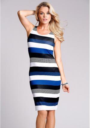 Платье MY STYLE. Цвет: белый/синий/черный