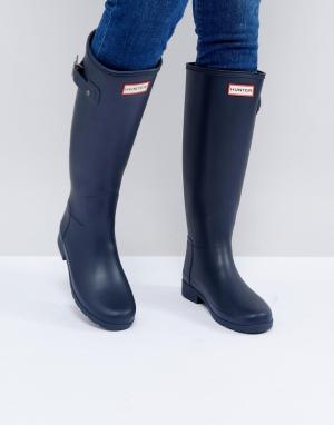 Hunter Темно-синие высокие резиновые сапоги Original Refined. Цвет: темно-синий