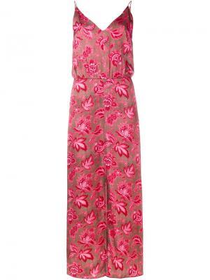 Платье с цветочным узором Zimmermann. Цвет: розовый и фиолетовый