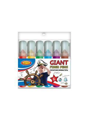 Фломастеры Гиганты Limpopo 6 цветов Супер-Дети. Цвет: прозрачный