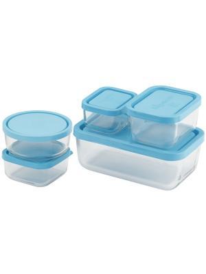 Набор из 5-и контейнеров Frigoverre в цветной коробке, 10*7, 10*10, 10*13, 13*21, d-12 см Bormioli Rocco. Цвет: синий
