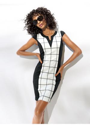 Моделирующее платье-футляр Ashley Brooke. Цвет: черный/молочно-белый