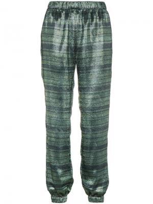 Полосатые спортивные брюки Haney. Цвет: зелёный
