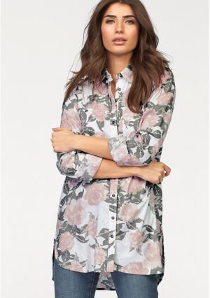 Удлиненная блузка BOYSENS BOYSEN'S. Цвет: белый/розовый с рисунком