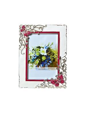 Фоторамка Бабочки и цветы, белая, металлическая со стразами 10х15см PLATINUM quality. Цвет: белый, красный