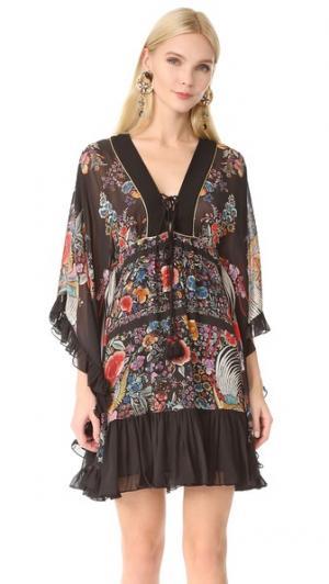 Платье с длинными рукавами Roberto Cavalli. Цвет: черный/коралловый