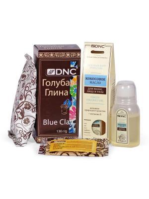 Набор для ухода за кожей и волосами: Кокосовое масло (60мл), Голубая косметическая глина (100г) DNC. Цвет: прозрачный, светло-голубой, светло-желтый
