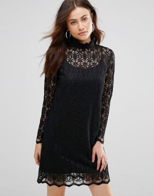 Jovonna Кружевное платье с высоким воротом Uptown. Цвет: черный