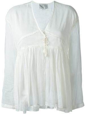 Блузка c V-образным вырезом Forte. Цвет: белый