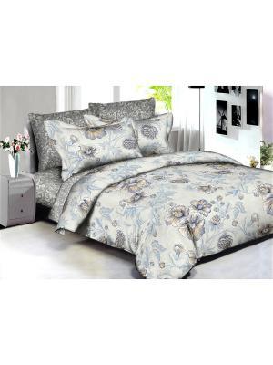 Комплект постельного белья Buenas noches Zurich из люкс сатина 2-спальный Евро. Цвет: бежевый, голубой, серый