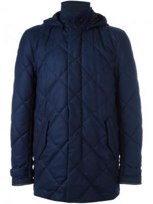 Стеганое пальто Canali. Цвет: синий