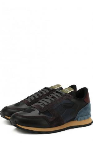Комбинированные кроссовки  Garavani Rockrunner на шнуровке Valentino. Цвет: темно-синий